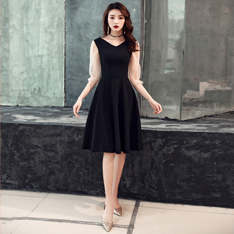 Black Short   Cocktail     Dresses   2019 Knee Length Ladies Half Sleeves V-Neck Formal Gowns Short   Cocktail   Party   Dress   LYFY99