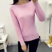 2017 Women Winter Knitting Sweaters And Pullovers O Neck Long Sleeve Solid Pulover Feminino Sueter Mujer