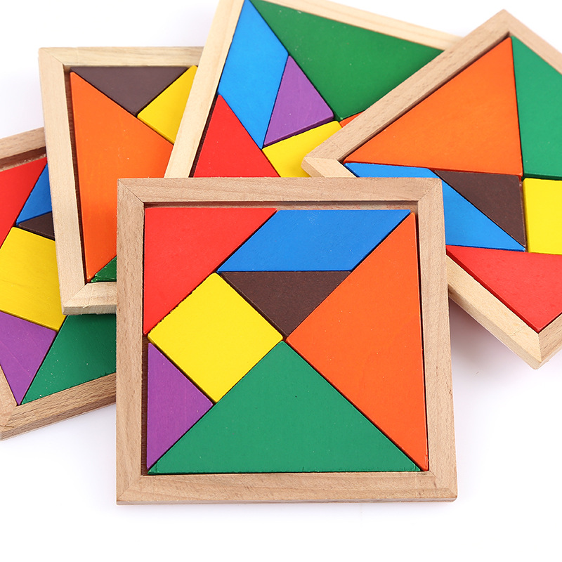 5sets/lot Wooden Tangram 7 Piece Jigsaw Puzzle Colorful Square IQ Game Brain Teaser Intelligent Educational Toys For Kids