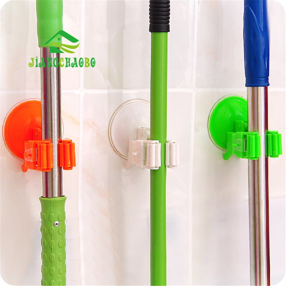 plastic wall mounted kitchen storage sucker mop holder clip broom organizer holder toolchina - Broom Holder