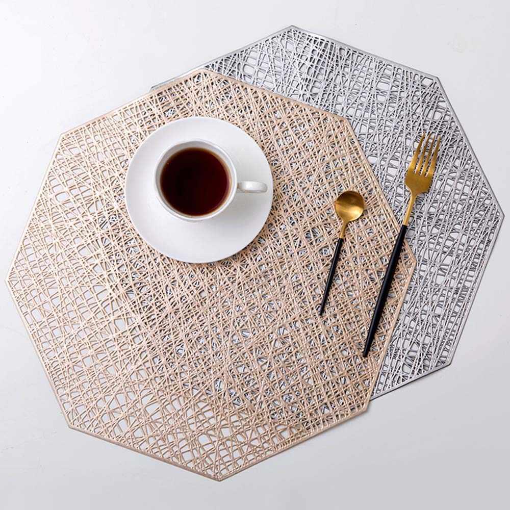Baispo podkładki z pcv ośmiokątne puste wodoodporne antypoślizgowe maty stołowe izolowane termicznie podkładka Coaster Home Decoration podkładka obiadowa