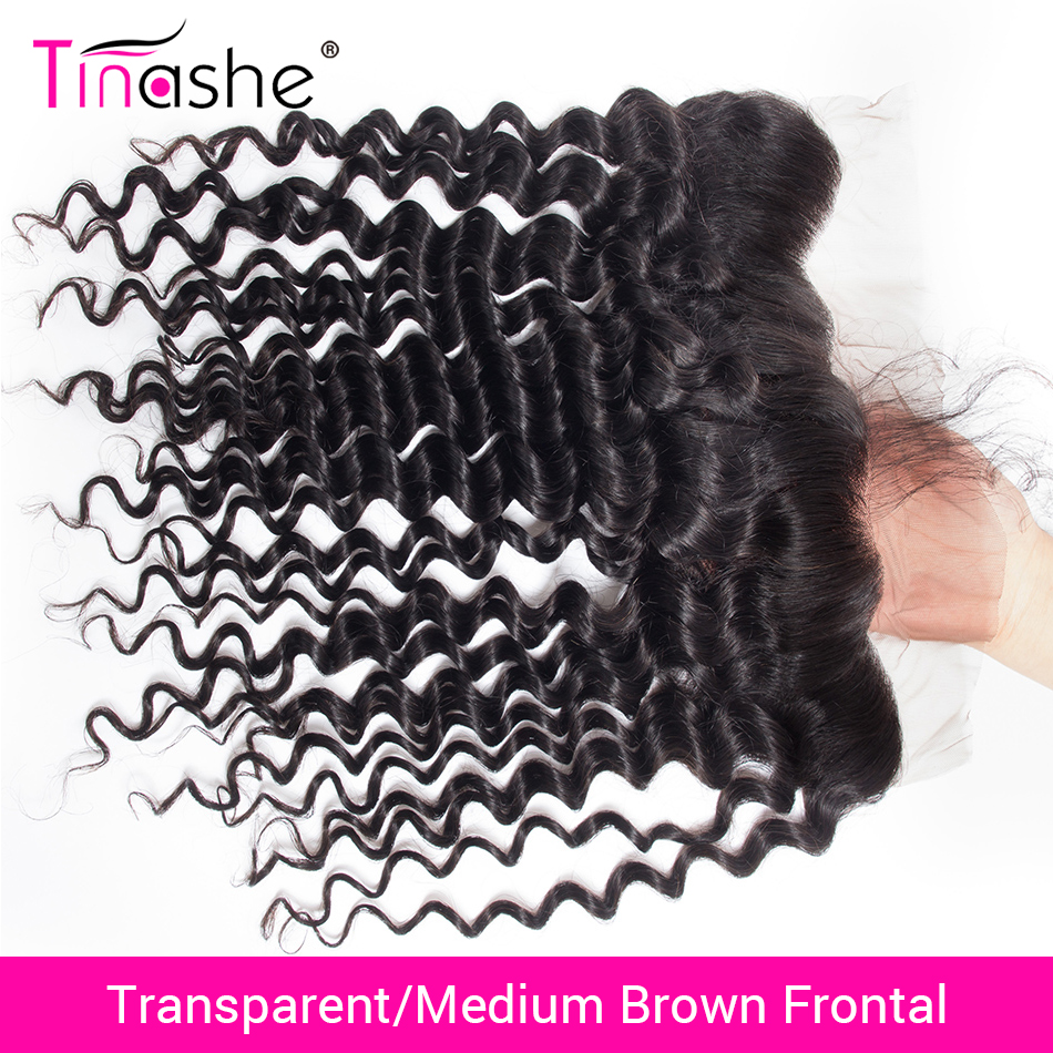 Tinashe Hair Closure Lace-Frontal Transparent Deep-Wave Brazilian Remy Swiss HD title=