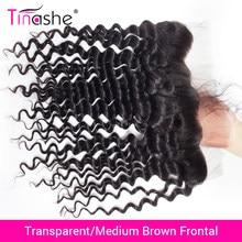 Perruque Lace Frontal Wig brésilienne Remy-Tinashe Hair, perruques swiss lace frontal closure, transparent HD, cheveux naturels, Deep Wave