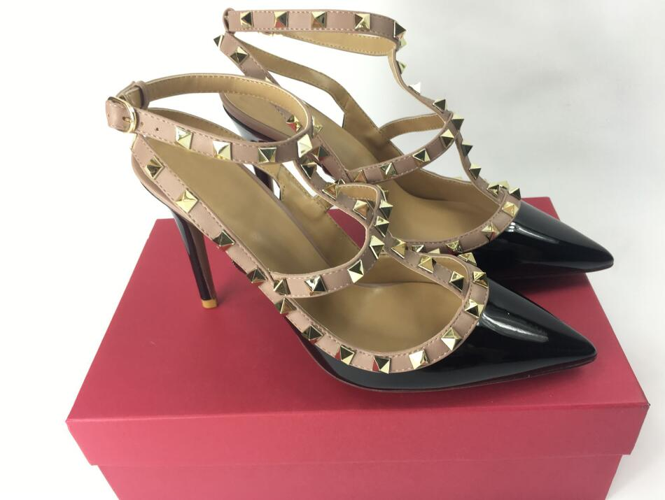New Mixed-colors Rivets Studded Women Sandals High Heels Narrow Band Patch Ankle Strapy Buckle Pointed Toe Party Shoes WomanNew Mixed-colors Rivets Studded Women Sandals High Heels Narrow Band Patch Ankle Strapy Buckle Pointed Toe Party Shoes Woman