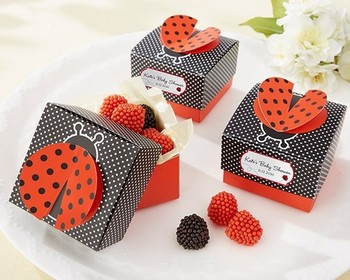 "Baby shower favor candy box -- party Decorations candy packing ""Cute as a Bug"" 3-D Wing Ladybug wedding Favor Box 400pcs/lot"