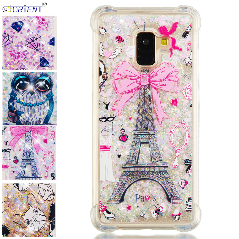 Half-wrapped Case Nice Bling Glitter Bumper Cover For Samsung Galaxy A8 Plus 2018 Dynamic Liquid Quicksand Silicone Phone Case Sm-a730f/ds Sm-a730x Exquisite Traditional Embroidery Art Cellphones & Telecommunications