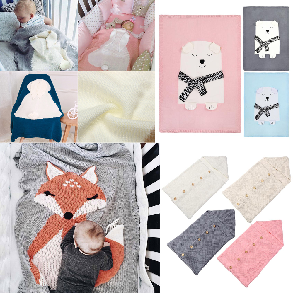 Blanket & Swaddling Official Website 4 Colors Baby Toddler Bedding Knitted Baby Blanket Wrap Soft Blankets Newborn Big Rabbit Ear Swaddling Kids Gift Girls Blankets