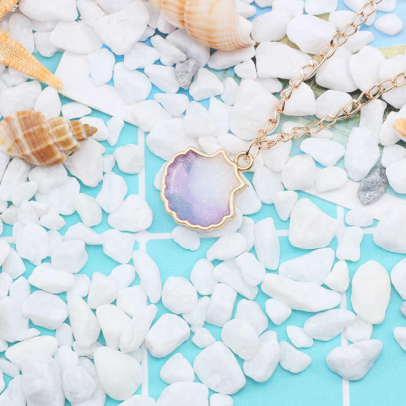 Simple Jewelry Orange/Purple/Gray/Blue Shell Necklace Exquisite Fashion Colorful Shell Necklace Series Double-sided Pearl Drops