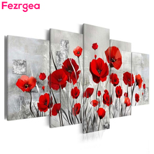 Fezrgea Multi-picture Diamond Painting Flower Cross Stitch Embroidery Full Round DIY Mosaic Home Deco