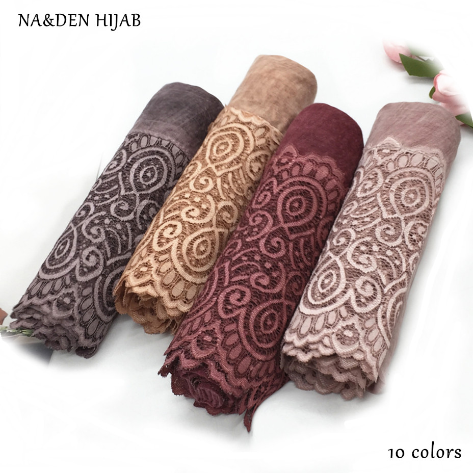 NEW vintage pattern hijab scarf embroidery lace fashion women scarves and shawls brand wrap soft muffler