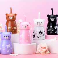 280ml Children Thermos Mug Cute Cartoon Bear Thermos Bottle Stainless Steel Insulated Cups Mini Vacuum Flakes