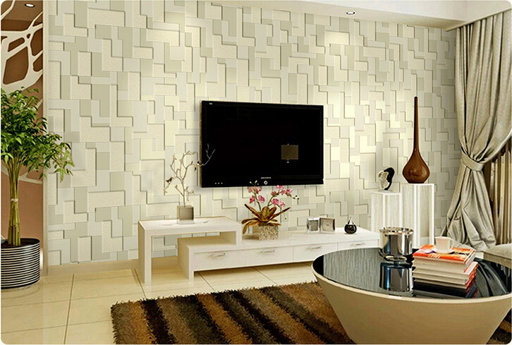 Aliexpress Buy Mural Embossed Stereoscopic Mosaic Minimalist Bedroom Living Room TV Background Non Woven Wallpaper 3D Roll Wall Paper From