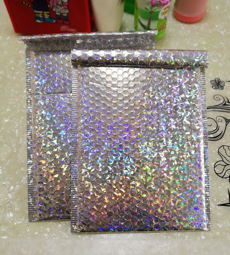 10PCS/LOT <font><b>Large</b></font> Sliver laser Wrap Glitter Metallic <font><b>Bubble</b></font> <font><b>Mailer</b></font> Bag Gift Bag Aluminum Foil Seals <font><b>Bubble</b></font> Envelope Gift Bag image