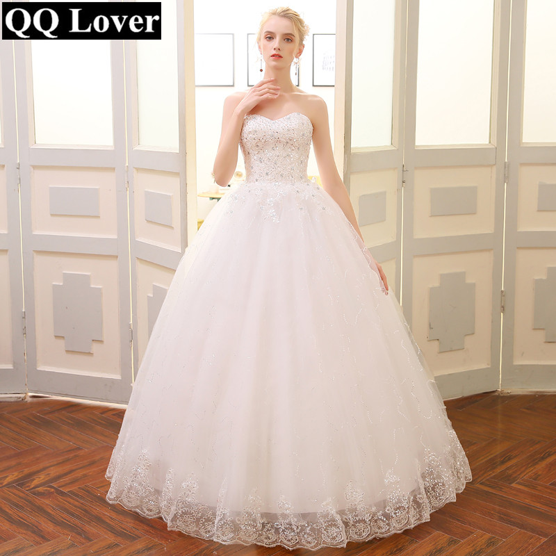 QQ Lover 2018 Real Photo Plus Size Vintage Lace Wedding Dresses Princess Vestido de Noiva Ball Gown Free Shipping Wedding Gown