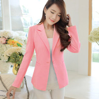 Plus Size Women Blazers Simple Jackets Fashion Solid Color Jacket Long Sleeve Single Button Slim 4