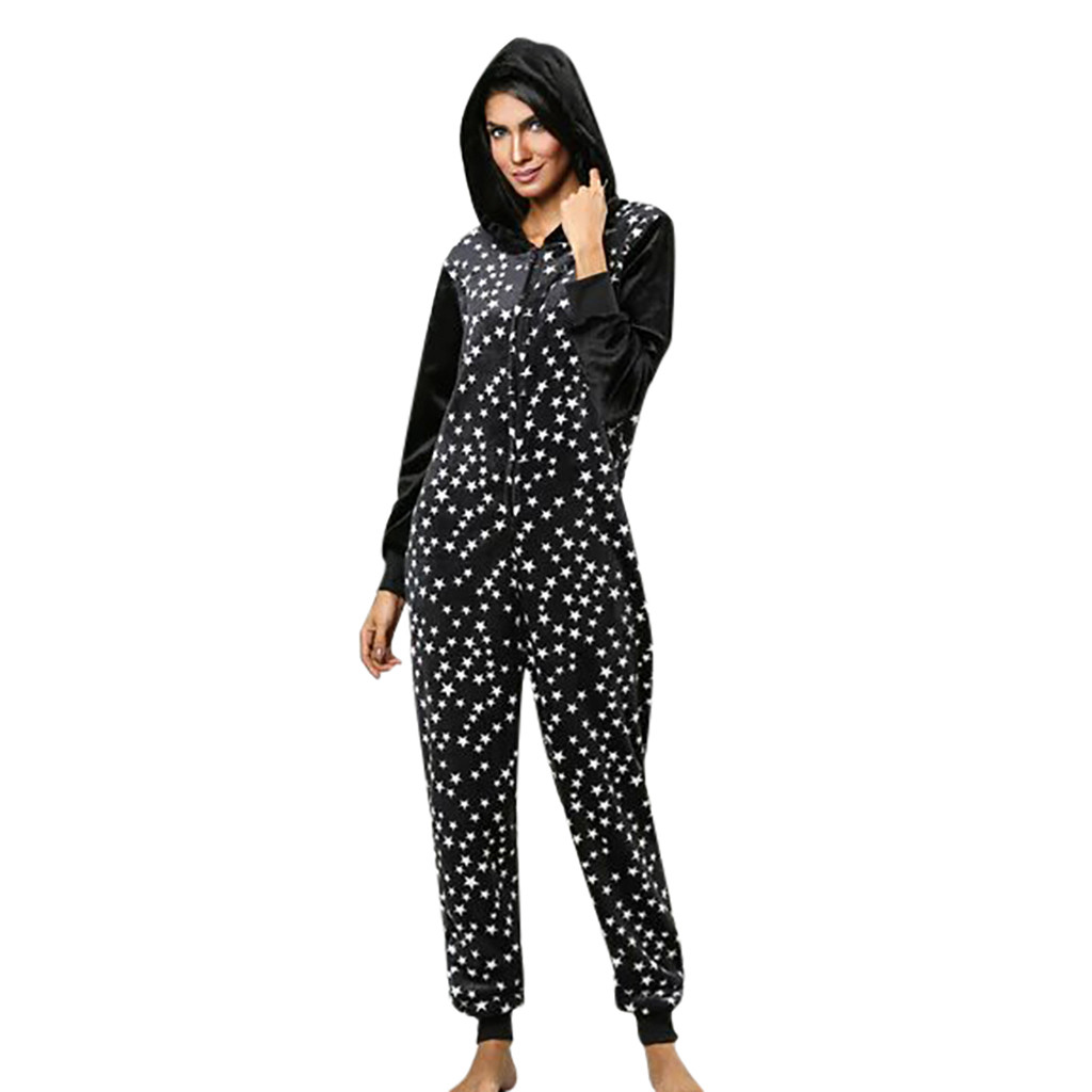 Black With Dot For Lady Womens Printing Hooded Flannel Long Sleeve Onesies Tracksuit Great For Party #G25