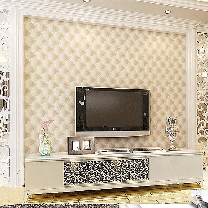 ФОТО Three-dimensional imitation leather wallpaper pvc  bedroom  tv background wall