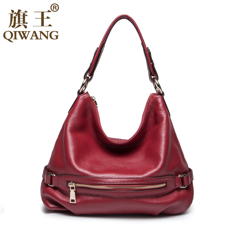цены QIWANG 100% Genuine Leather Bag Women's Handbag Ladies Shoulder Bags Satchel Purse Crossbody Hobo on Clearance Cheap price now