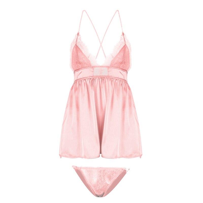 Сексуальные ночные рубашки с открытой спиной, женская ночная рубашка с перекрещивающимися боковыми ремешками, кружевное нижнее белье с ресницами, домашнее ночное белье, нижнее белье