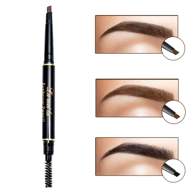 New Double-Ended 3D Eyebrow Pencil with Mascara Natural Eyebrow Tint Cosmetics Waterproof Pigment for Eyebrows Black Brown 3