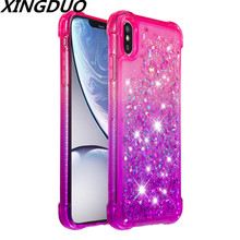 XINGDUO For IPhone 6 6s 7 8 Plus X XS XR XSMax Cartoon Heart Shaped Love Liquid Quicksand Glistening Chameleon Luxury phone case