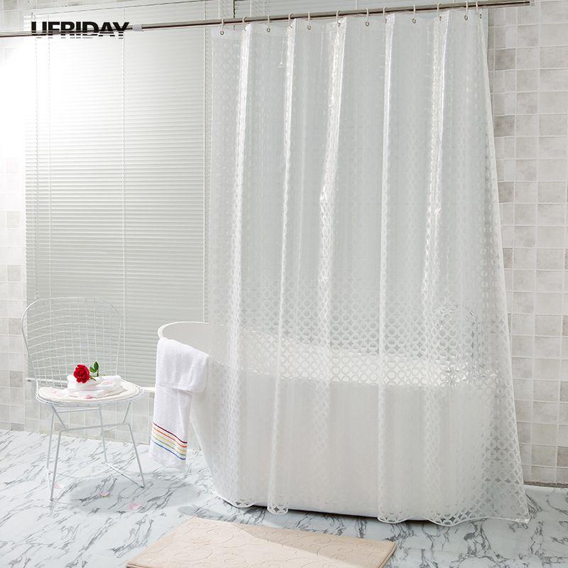 UFRIDAY Translucent Shower Curtain 3D Dots Circles Pattern Design EVA Curtains Mildew Waterproof Bath Cortinas