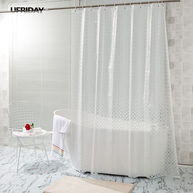 UFRIDAY Translucent Shower Curtain 3D Dots Circles Pattern Design EVA Curtains Mildew Waterproof Bath