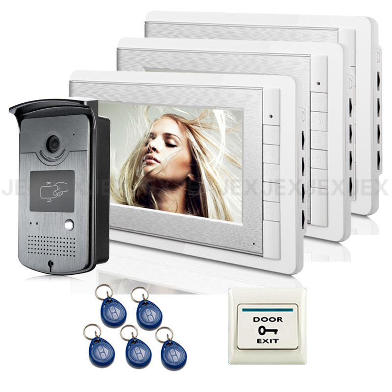 Wholesale Hot&New Wired 7 inch Video Door Phone Intercom Entry System With 3 Monitor + RFID Reader Doorbell Camera FREE SHIPPING free shipping brand new 7 home video intercom door phone system with recording monitor rfid card reader door camera wholesale
