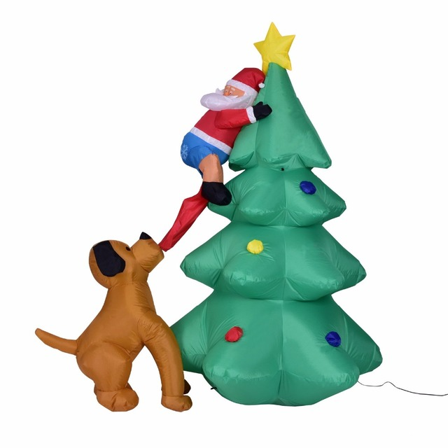 giant 180cm inflatable christmas tree puppy bites santa claus climbing tree blow up fun toys christmas
