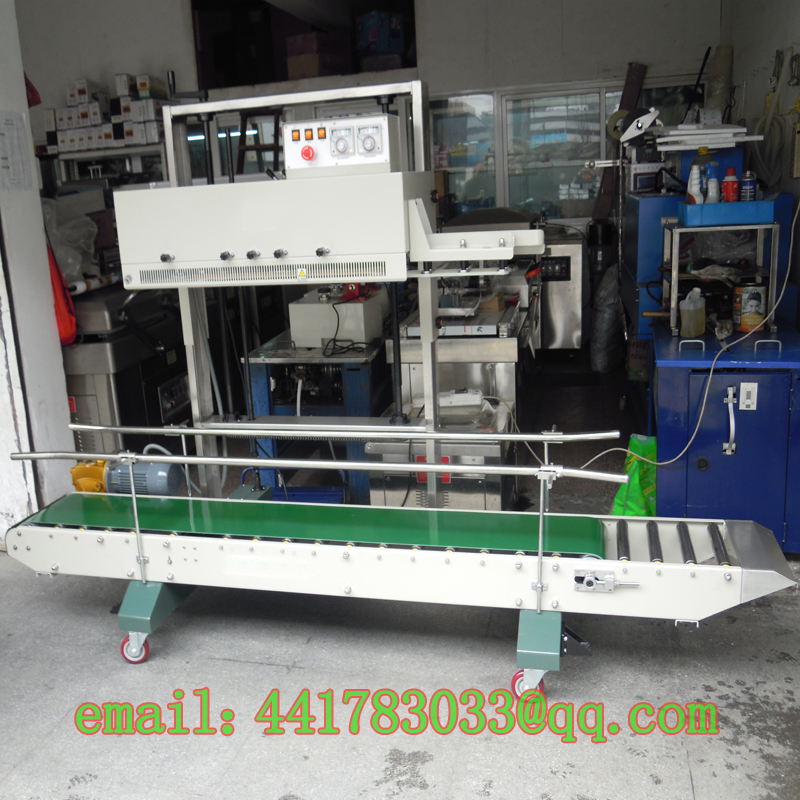 FRM 1370AL/M Double heating continuous sealing machine Rice big bags packing machine 20 50KG plastic film sealer heavy bagsealer