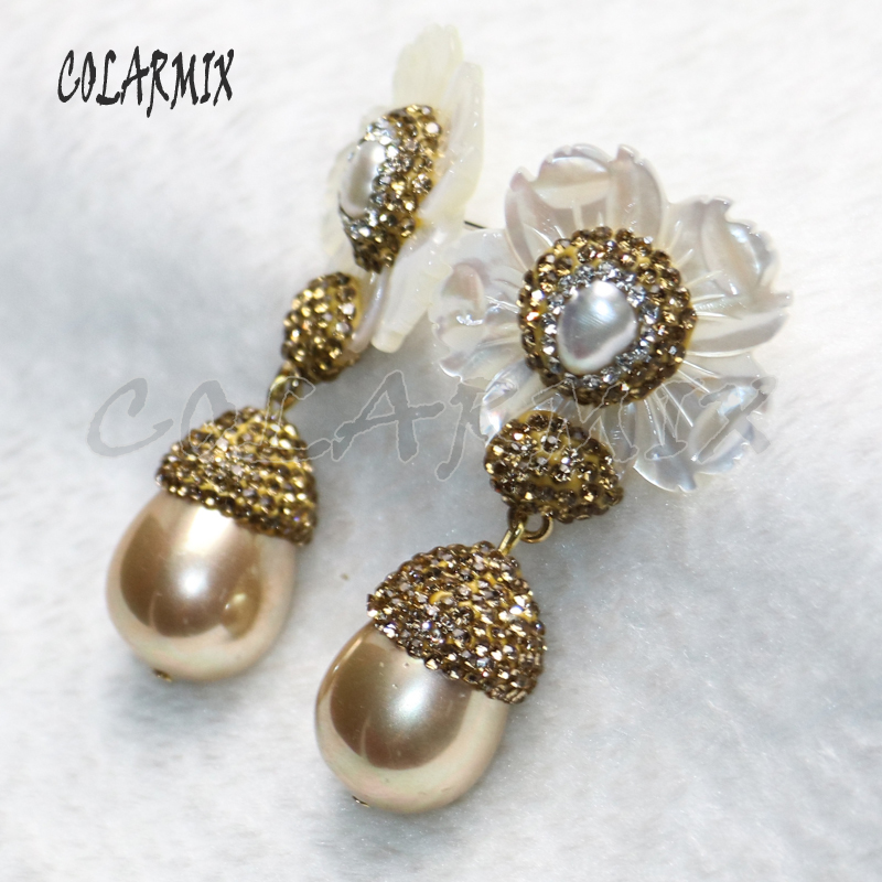 3 pair shell flowers earrings with shell beads mix colors shell beads earring elegant trendy jewelry for women gift jewelry 9215-in Drop Earrings from Jewelry & Accessories    3
