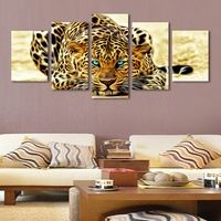5 Panels HD Printed Animal African Leopard Painting Canvas Print Room Decor Print Poster Picture Canvas