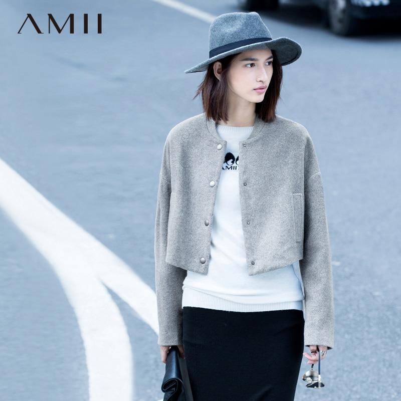 Amii Casual Minimalist Women Woolen Coat 2018 Winter Short Solid Single Breasted Mandarin Collar Female Wool Blends