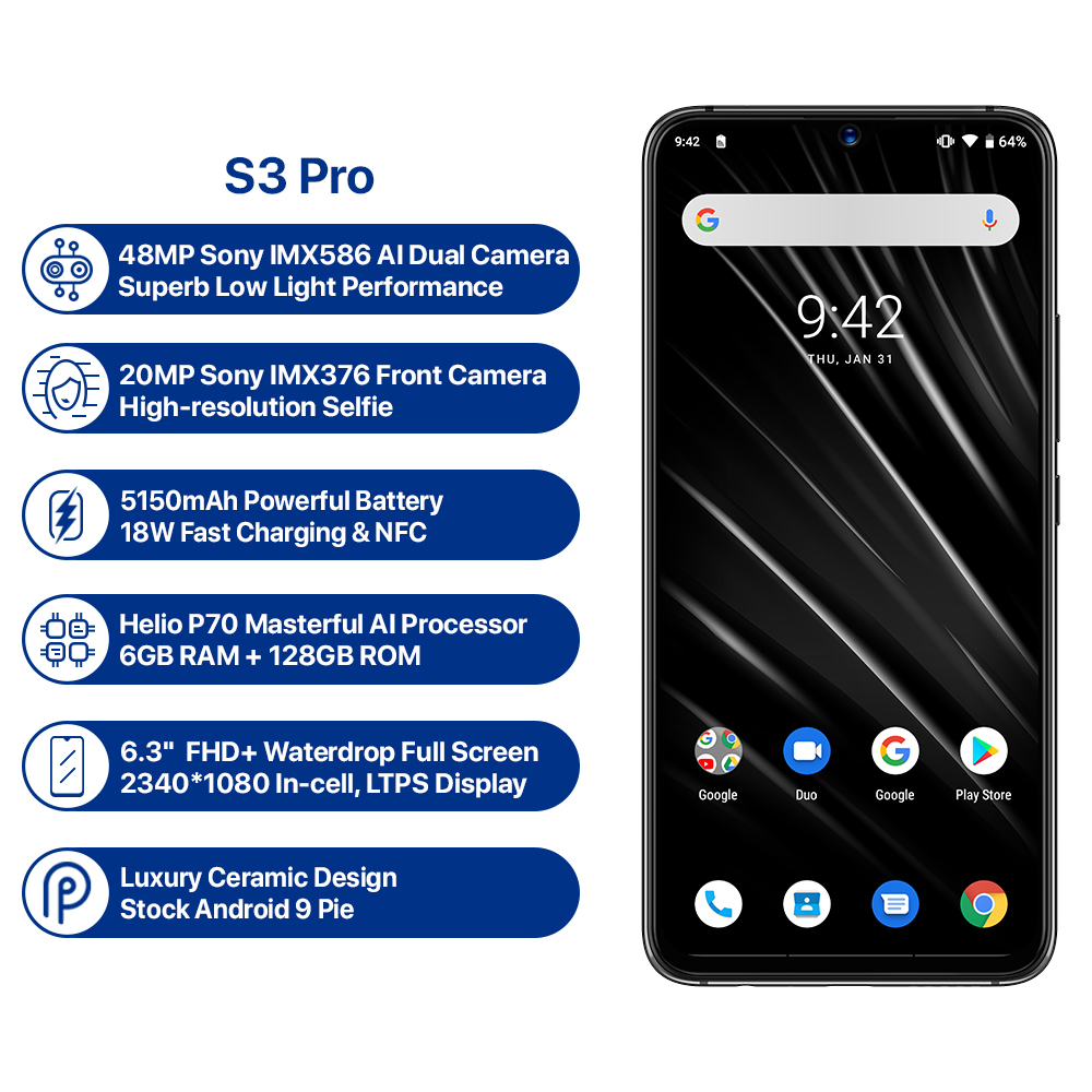 UMIDIGI S3 PRO Android 9 0 48MP+12MP+20MP Super Camera