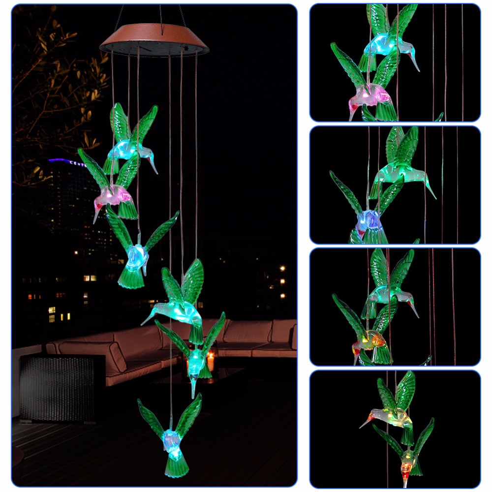 Color-Changing LED Solar Wind Chime Light Outdoor Hanging Wind Bell Decorative Lamp for Patio Garden Home DecorColor-Changing LED Solar Wind Chime Light Outdoor Hanging Wind Bell Decorative Lamp for Patio Garden Home Decor