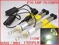 EMS 2 Conjunto 13200LM P70 110 W 9005 HB3/9006 HB4 LEVOU Kit farol XHP70 Chip Fanless Condução Farol de SUPER Branco 6000 K H4 H8 H11
