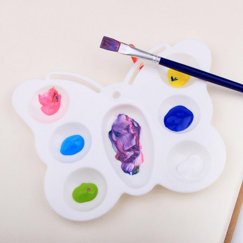 7 Wells Butterfly Plastic Palette Art Paint Plastic Drawing Tray Color Palette For Oil Watercolour White Painting Pallet