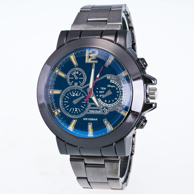 men quartz wristwatch stainless steel three eyes analog watches busniesss sport style relogio masculino 2018 hot sale male clock