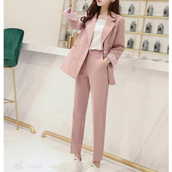 Woman suits lady suit office business professional suit female autumn casual temperament fashion slim solid color pink two-piece ladies black suit 2019 autumn new temperament lady business office suit jacket female fashion trouser suit two piece overalls