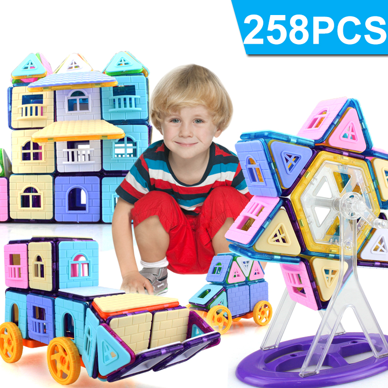 258PCS Mini Magnetic Building Blocks Magnetic Constructor Designer DIY Educational Toys for Children Magnet toys mini 169pcs diy magnetic blocks toys construction model magnetic building blocks designer kids educational toys for children