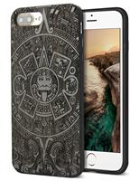 2017 Hot Fashion Cool Nature Real Wooden Engraving Pattern Unique Black Wood Grain Protective Case For iPhone 7 8 Plus