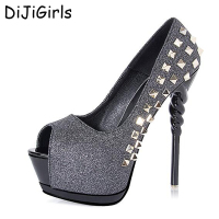 Fashion Pumps Open Toe Shoes Studded Heels Women Party Shoes Gold Pumps Wedding Shoes Woman Pumps