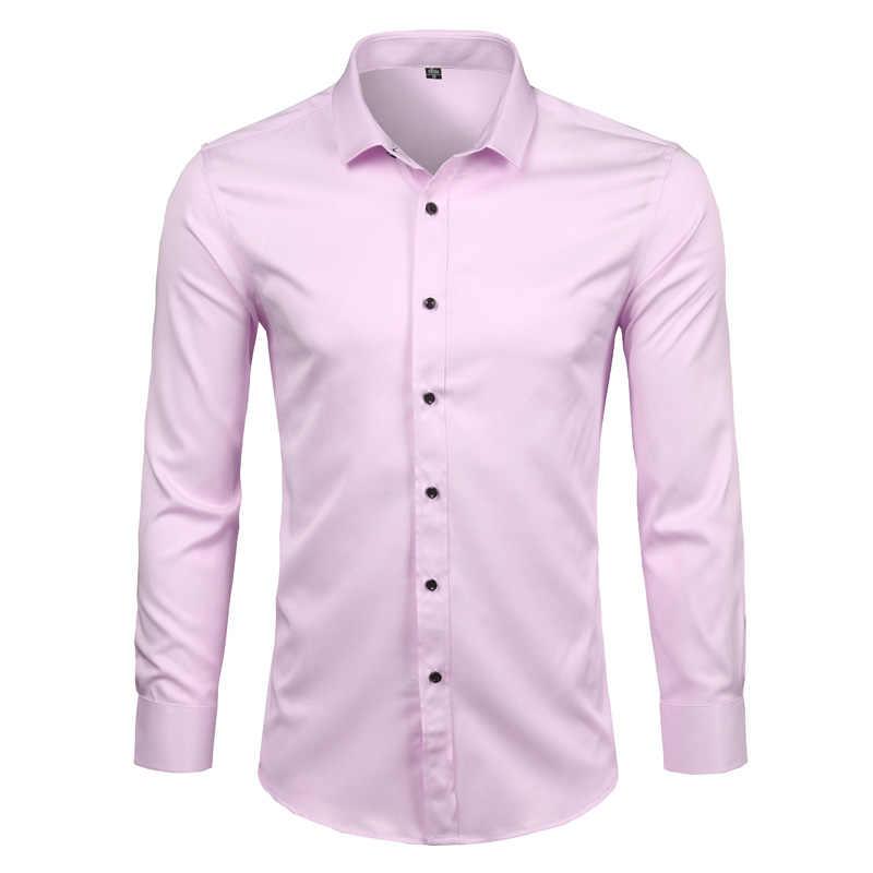 竹繊維メンズドレスシャツ 2018 ブランド新無地長袖白シャツ男性カジュアルボタンダウン弾性フォーマル男性シャツ