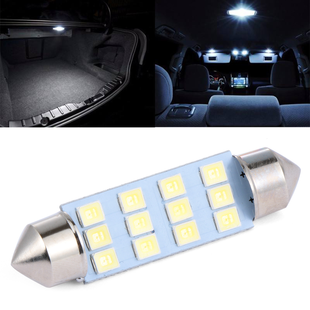 10pcs White Great Car Dome 12 3528-smd Led Bulb Light Interior Festoon Lamp 41mm Automobiles & Motorcycles Electric Vehicle Parts
