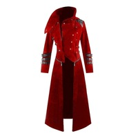 Vintage Steampunk Trench Coat Men Fashion Zipper Patchwork Cosplay Costume Party Mens Overcoat Gothic Palace Gentlemen Costume