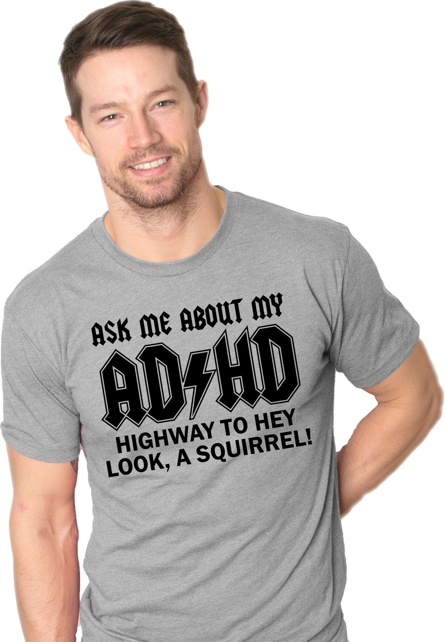 16426ff7 Ask Me About My ADHD T Shirt Funny Squirrel Flip Shirt Cartoon t shirt men  Unisex