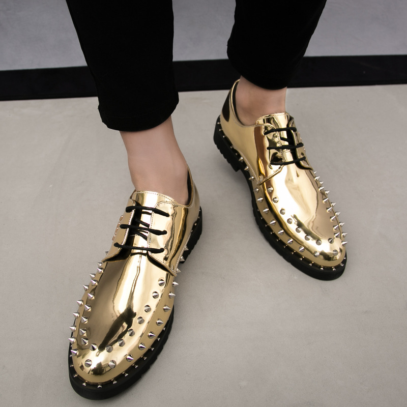 add70d16634ac Europe bling patent Leather Shoes rivet Fashion Mens Loafer Dress Shoes Men  Casual Business Office Wedding