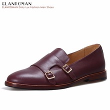 ELANROMAN Men Monk-strap Leather Shoe Man Formal Dress Elegant Shoes Luxury Tan Italian Handmade Male Genuine Leather