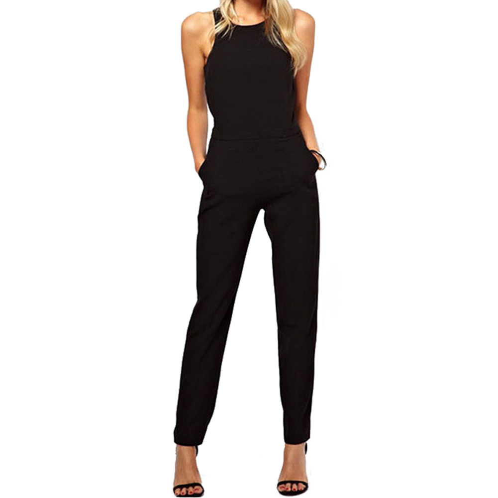 New Sexy Jumpsuits Suits Behind Hollow Out a Button Jumpsuit Invisible Zipper Long Pants Romper Black S