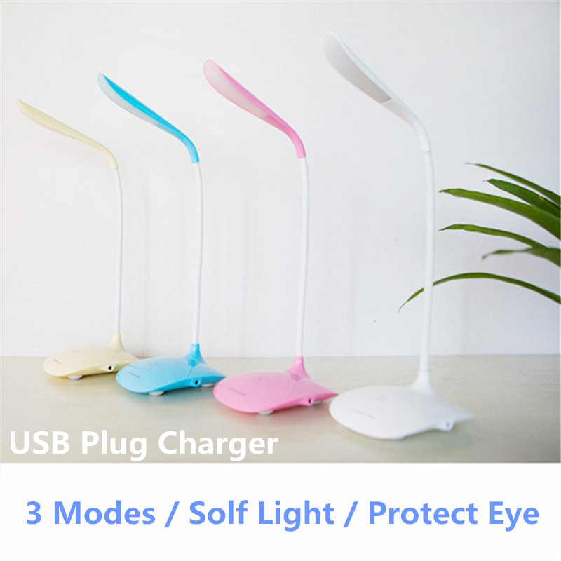 USB LED Touch Switch Desk Lamp Led Table Lamps Children Eye Protection Student Study Reading Dimmer Foldable Rechargeable